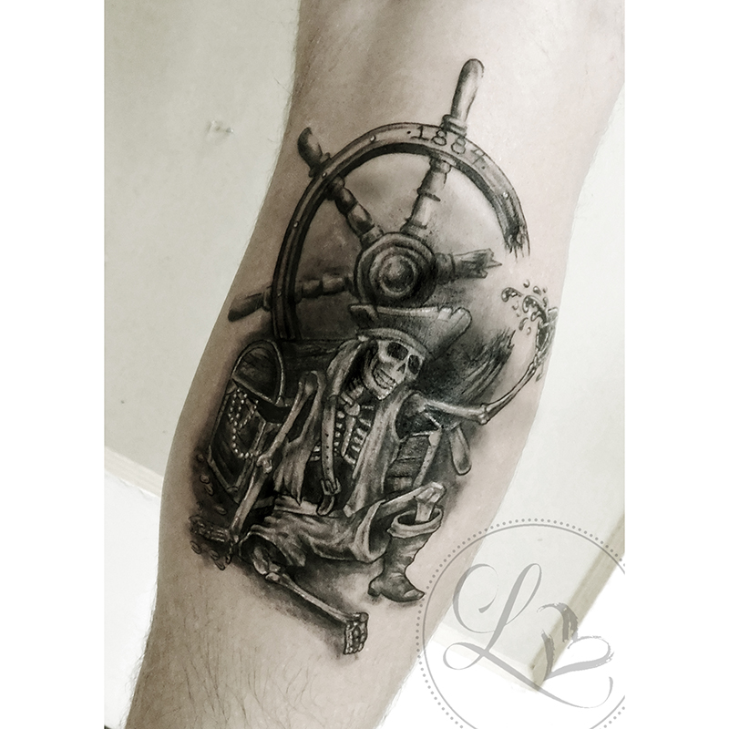 Pirate skeleton black and grey realistic tattoo