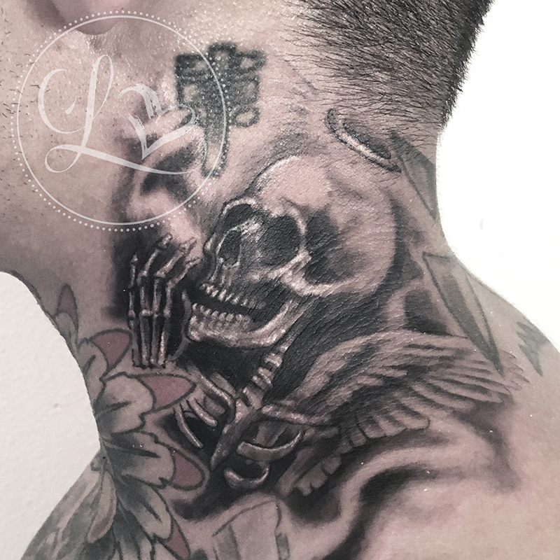 Black and grey realistic tattoo on a neck of a skeleton with a halo and wings praying