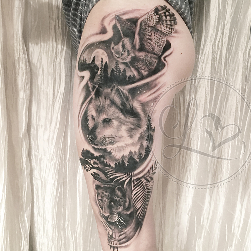 owl wolf panther thigh tattoo black and grey realistic