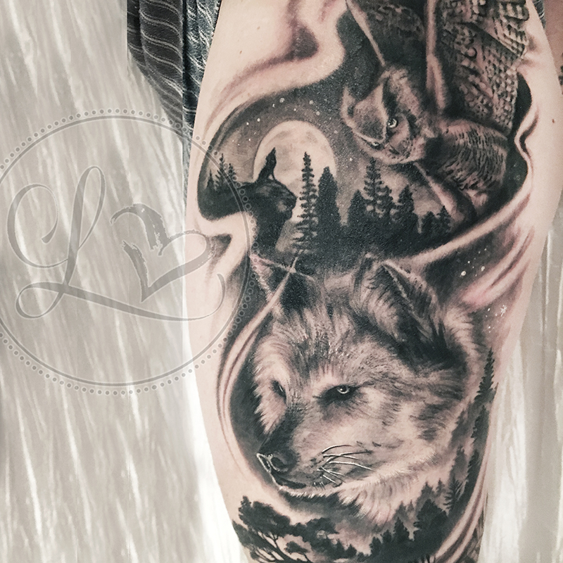 wolf owl black and grey realistic thigh tattoo
