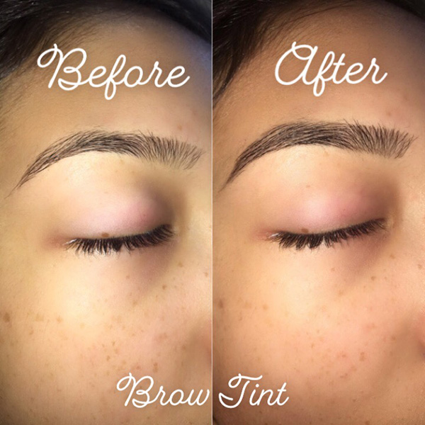 Eyebrow tinting done at Queen of Hearts in Wailuku, Maui, Hawaii.
