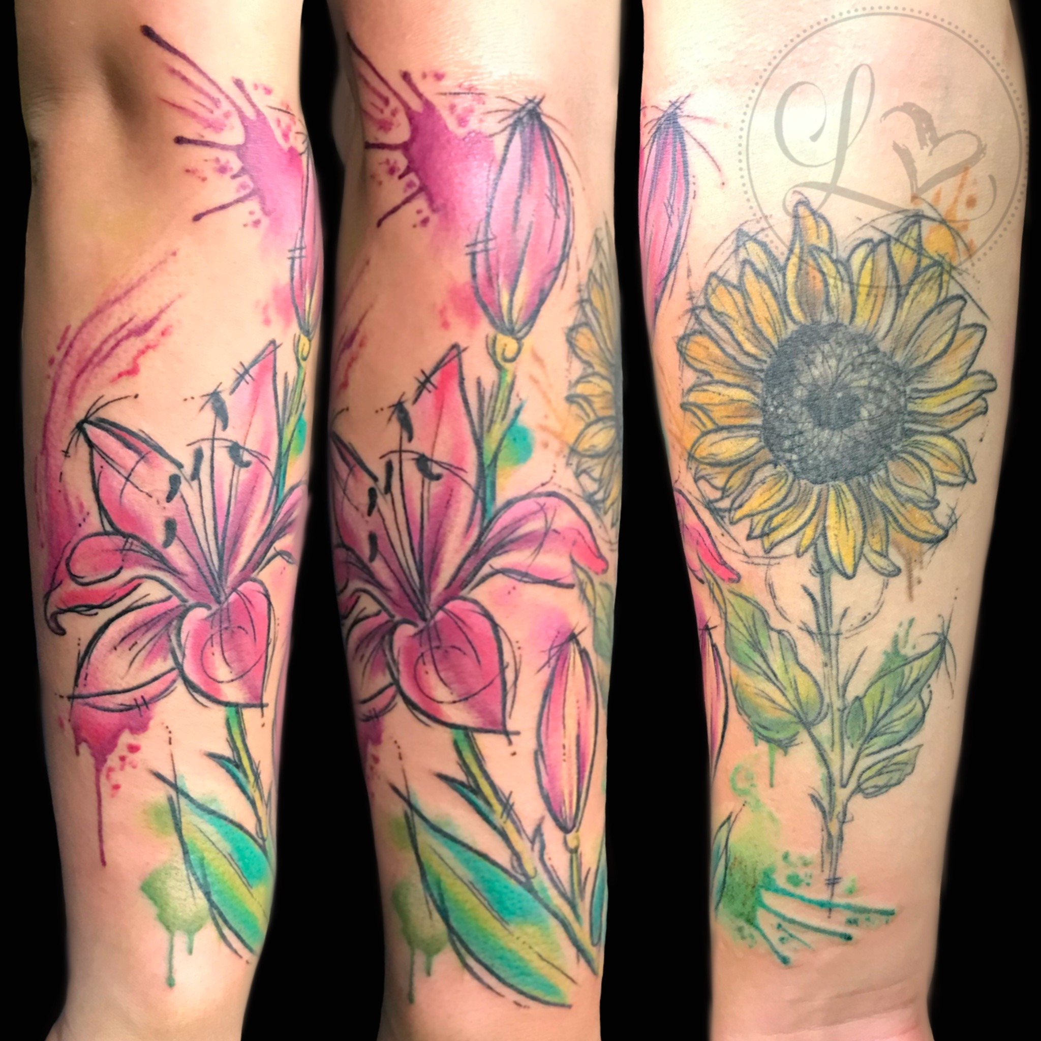 Watercolor half sleeve tattoo of pink stargazer lily and sunflower