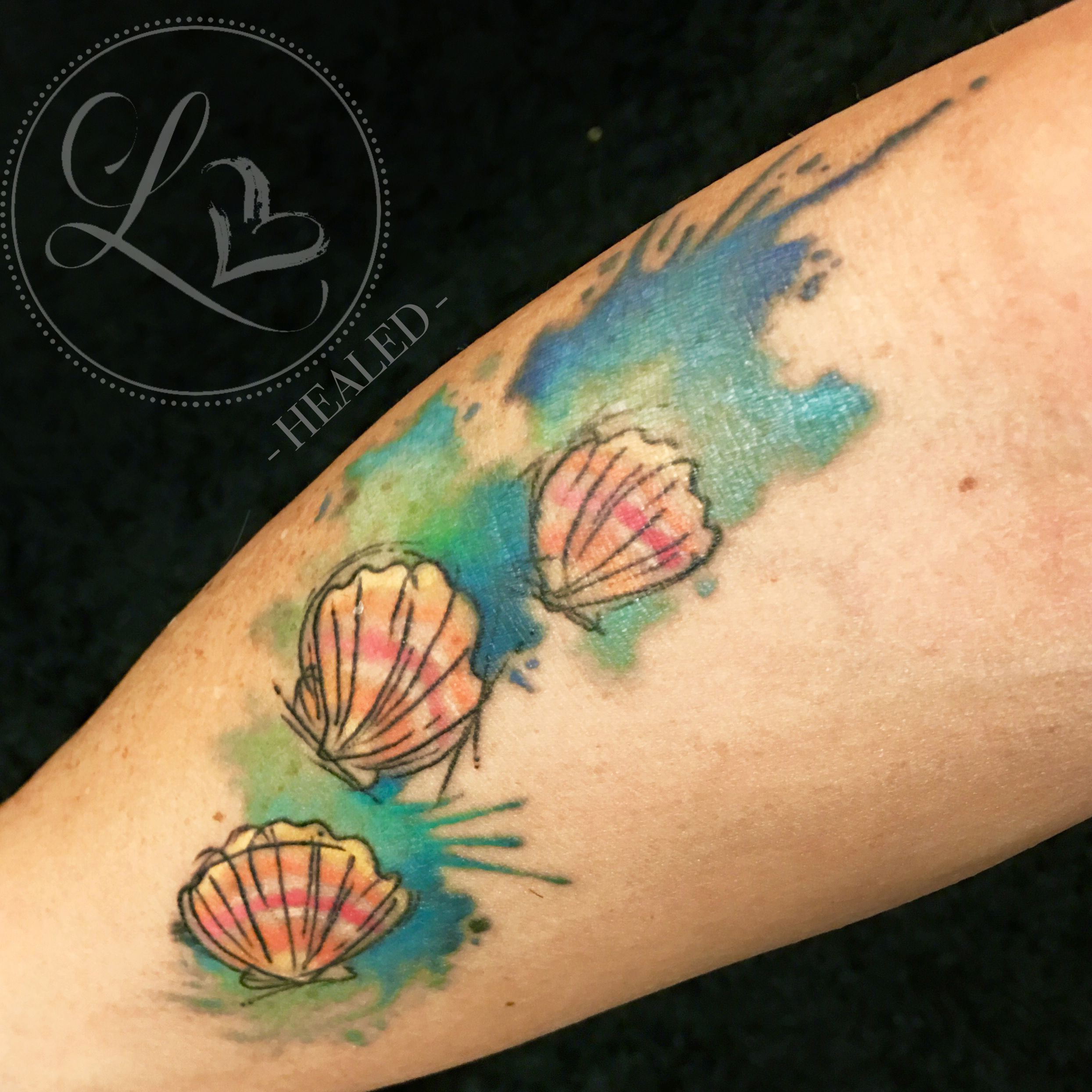 Healed tattoo of sunrise shells in watercolor style