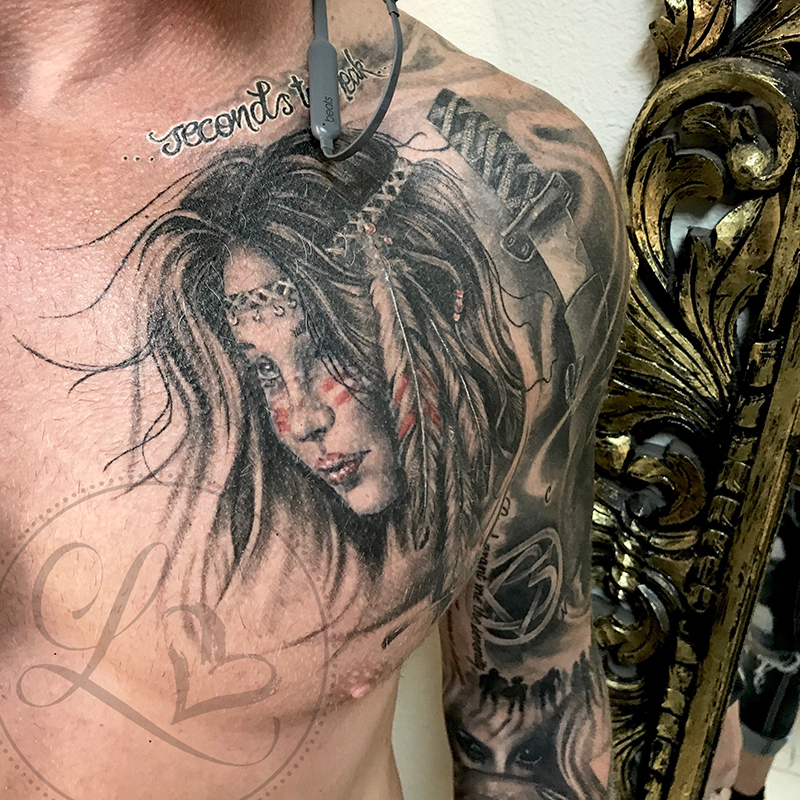 native american indian girl portrait black and grey realistic tattoo