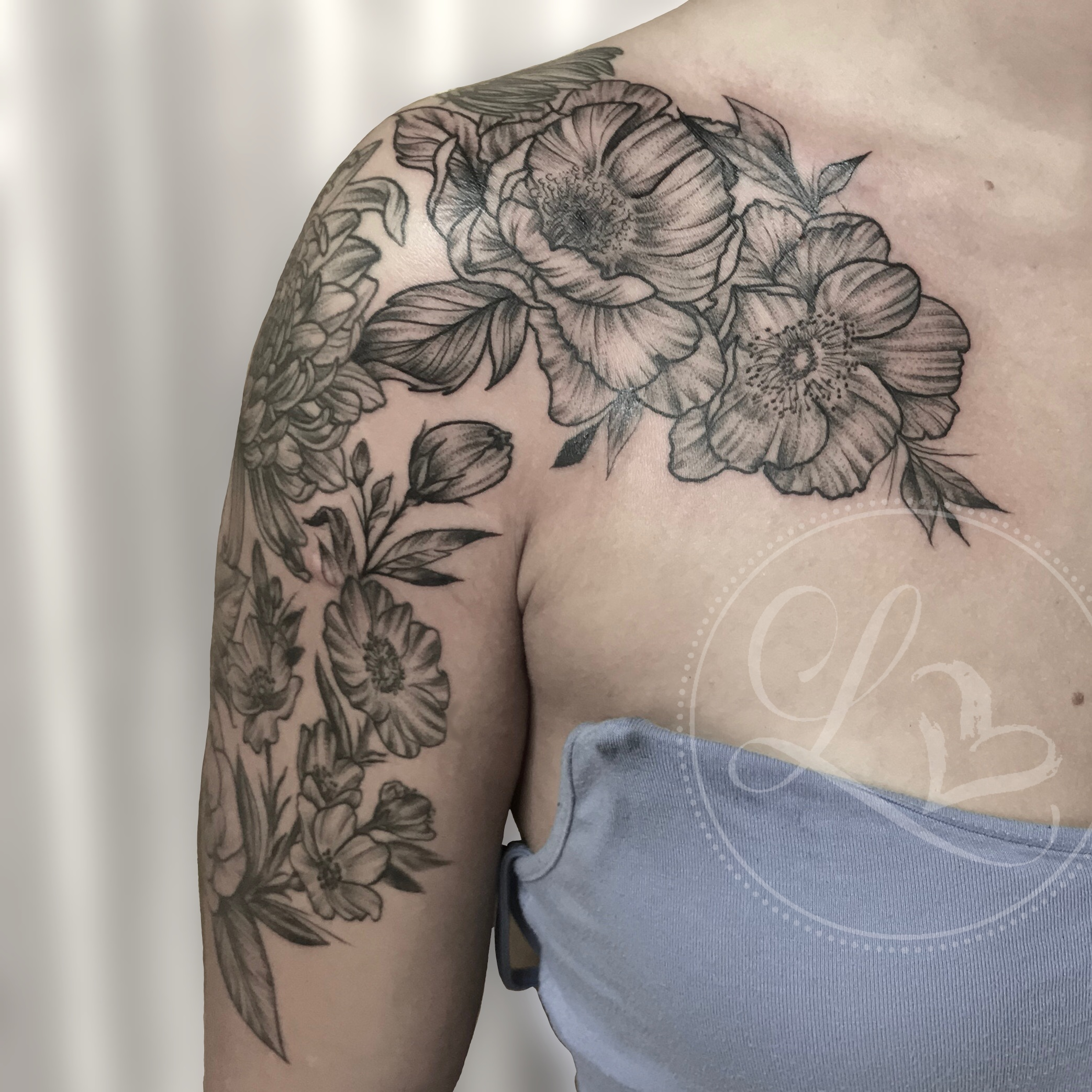 floral flowers half sleeve chest tattoo