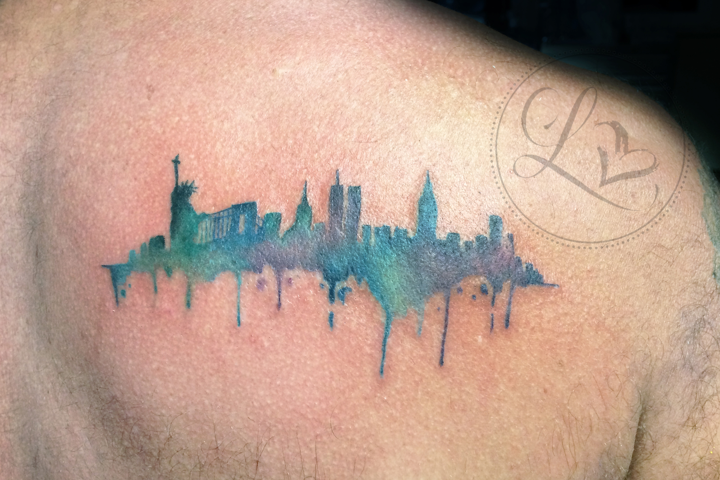 Watercolor New York City skyline colorful tattoo