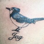 Blue jay & lettering - tattoo by QOH artist Sophia
